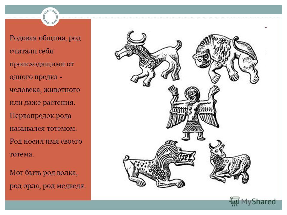 Родовая община, род считали себя происходящими от одного предка - человека, животного или даже растения. Первопредок рода назывался тотемом. Род носил имя своего тотема. Мог быть род волка, род орла, род медведя.