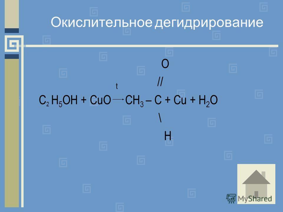 Окислительное дегидрирование O t // C 2 H 5 OH + CuO CH 3 – C + Cu + H 2 O \ H
