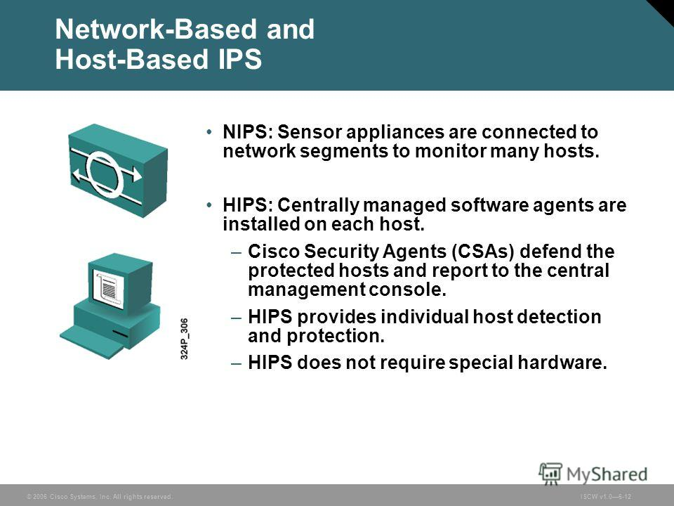 © 2006 Cisco Systems, Inc. All rights reserved.ISCW v1.06-12 Network-Based and Host-Based IPS NIPS: Sensor appliances are connected to network segments to monitor many hosts. HIPS: Centrally managed software agents are installed on each host. –Cisco