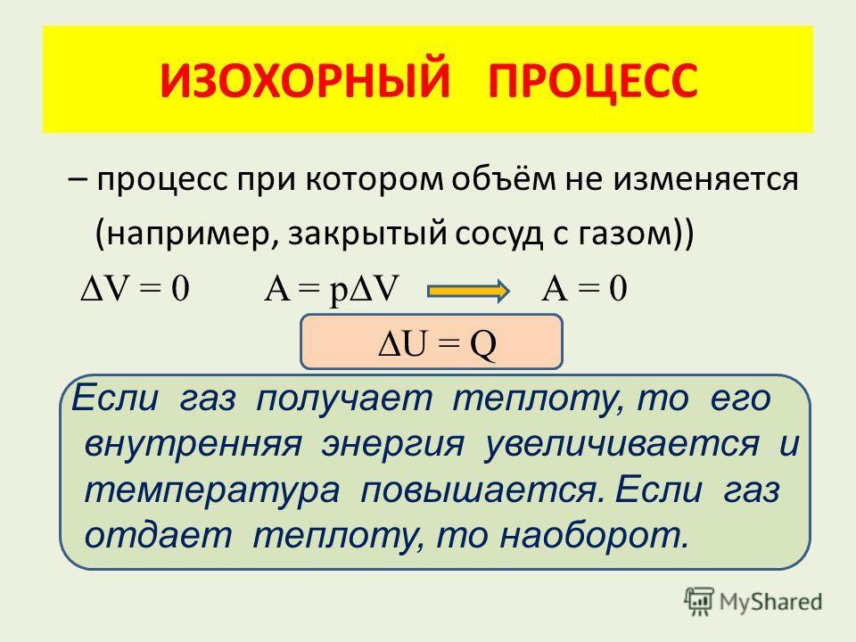 ИЗОХОРНЫЙ ПРОЦЕСС – процесс при котором объём не изменяется (например, закрытый сосуд с газом)) V = 0 A = pV А = 0 U = Q Если газ получает теплоту, то его внутренняя энергия увеличивается и температура повышается. Если газ отдает теплоту, то наоборот