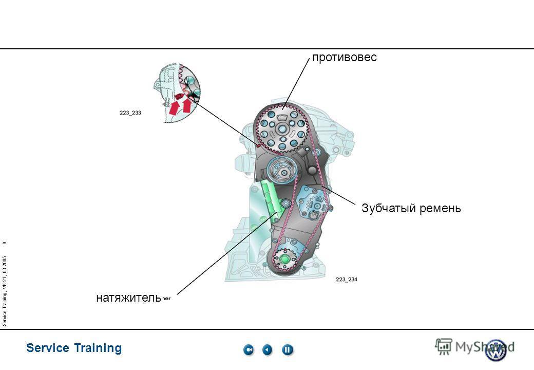 Service Training 9 Service Training, VK-21, 03.2005 натяжитель Зубчатый ремень противовес