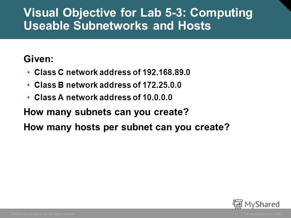 © 2005 Cisco Systems, Inc. All rights reserved. Course acronym vx.x#-29 Visual Objective for Lab 5-3: Computing Useable Subnetworks and Hosts Given: Class C network address of 192.168.89.0 Class B network address of 172.25.0.0 Class A network address
