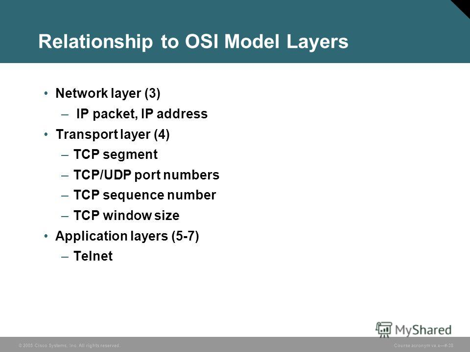 © 2005 Cisco Systems, Inc. All rights reserved. Course acronym vx.x#-38 Relationship to OSI Model Layers Network layer (3) – IP packet, IP address Transport layer (4) –TCP segment –TCP/UDP port numbers –TCP sequence number –TCP window size Applicatio