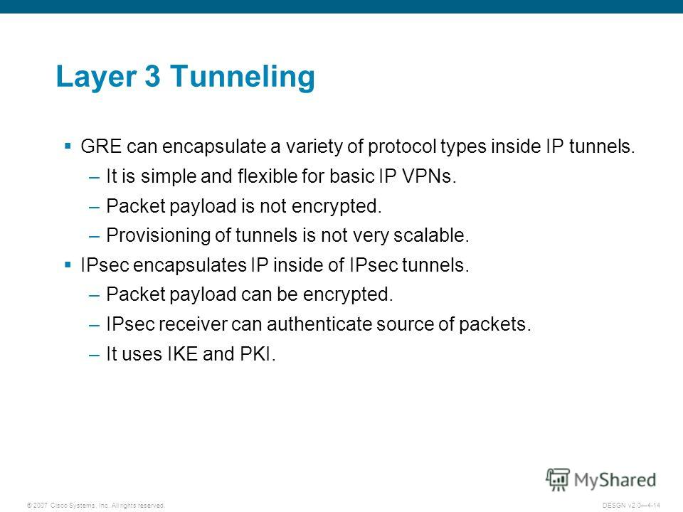 © 2007 Cisco Systems, Inc. All rights reserved.DESGN v2.04-14 Layer 3 Tunneling GRE can encapsulate a variety of protocol types inside IP tunnels. –It is simple and flexible for basic IP VPNs. –Packet payload is not encrypted. –Provisioning of tunnel