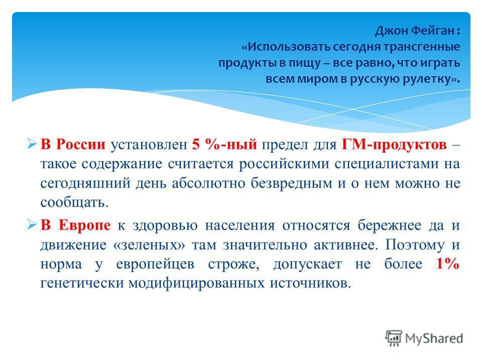 В России установлен 5 %-ный предел для ГМ-продуктов – такое содержание считается российскими специалистами на сегодняшний день абсолютно безвредным и о нем можно не сообщать. В Европе к здоровью населения относятся бережнее да и движение «зеленых» та
