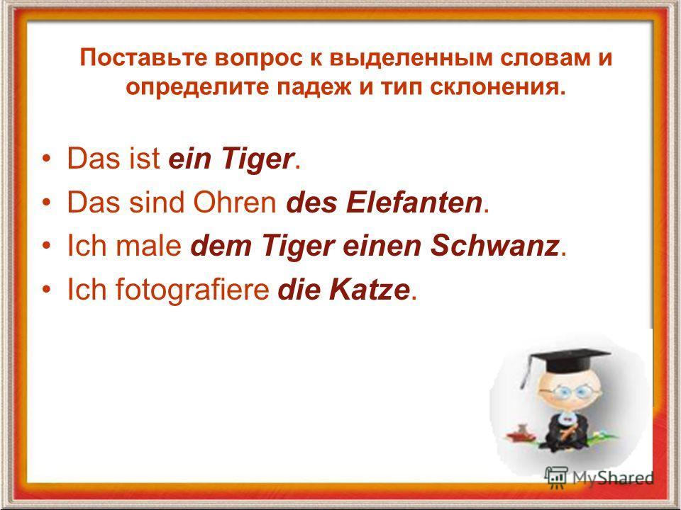 Поставьте вопрос к выделенным словам и определите падеж и тип склонения. Das ist ein Tiger. Das sind Ohren des Elefanten. Ich male dem Tiger einen Schwanz. Ich fotografiere die Katze.
