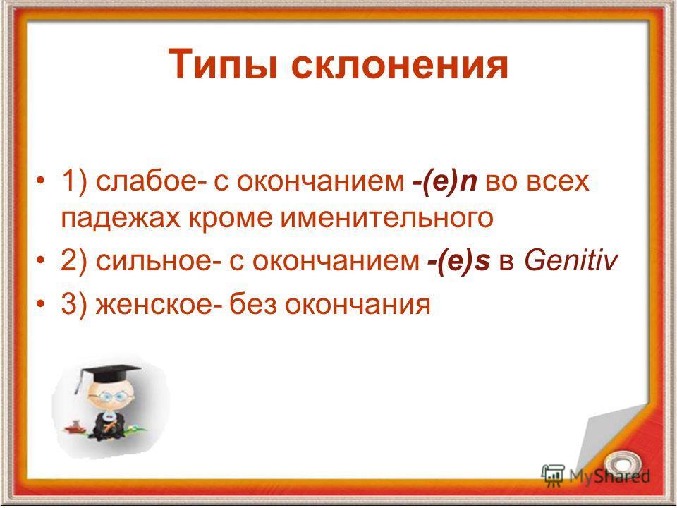 Типы склонения 1) слабое- с окончанием -(е)n во всех падежах кроме именительного 2) сильное- с окончанием -(e)s в Genitiv 3) женское- без окончания