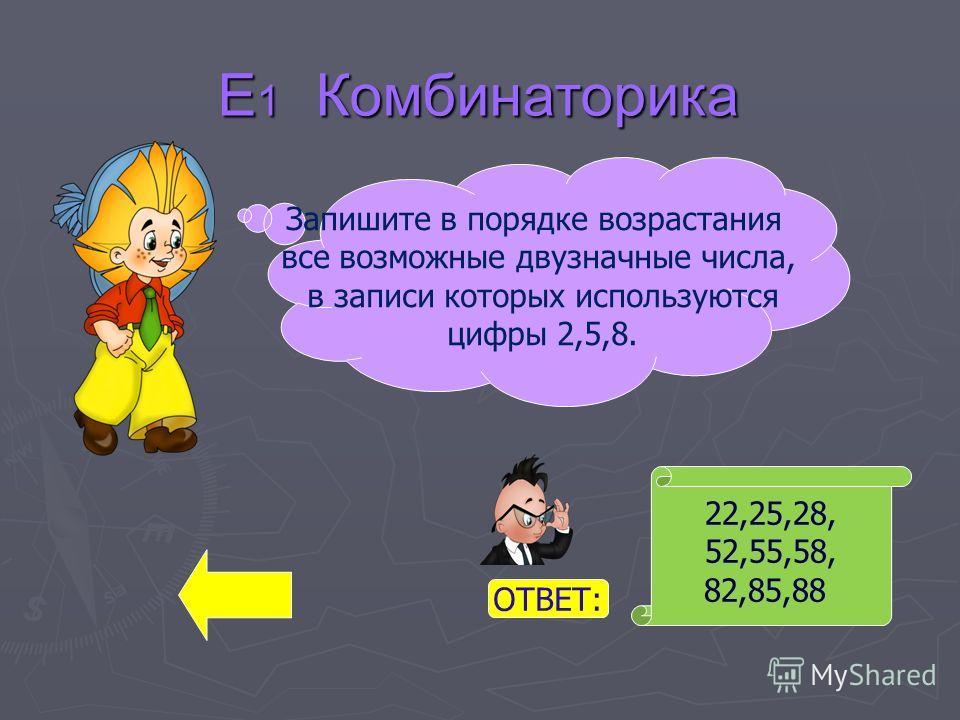 Е 1 Комбинаторика 22,25,28, 52,55,58, 82,85,88 Запишите в порядке возрастания все возможные двузначные числа, в записи которых используются цифры 2,5,8. ОТВЕТ: