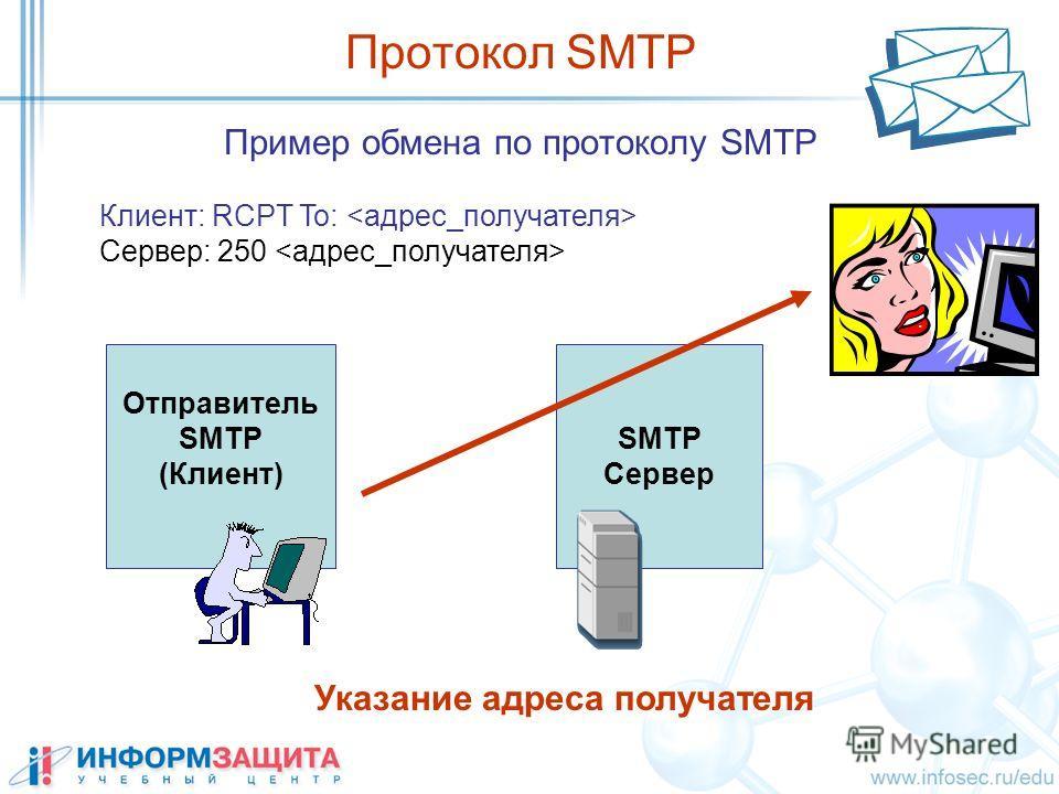 SMTP Сервер Пример обмена по протоколу SMTP Протокол SMTP Клиент: RCPT To: Сервер: 250 Отправитель SMTP (Клиент) Указание адреса получателя