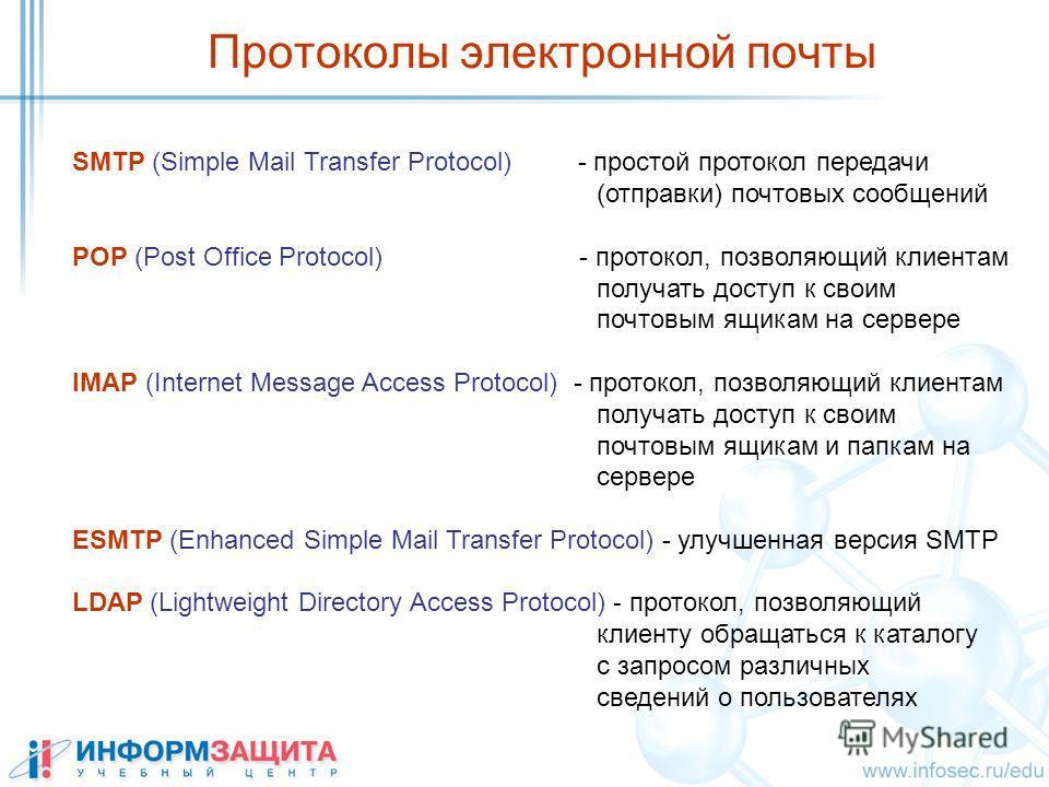 Протоколы электронной почты SMTP (Simple Mail Transfer Protocol) - простой протокол передачи (отправки) почтовых сообщений POP (Post Office Protocol) - протокол, позволяющий клиентам получать доступ к своим почтовым ящикам на сервере IMAP (Internet M