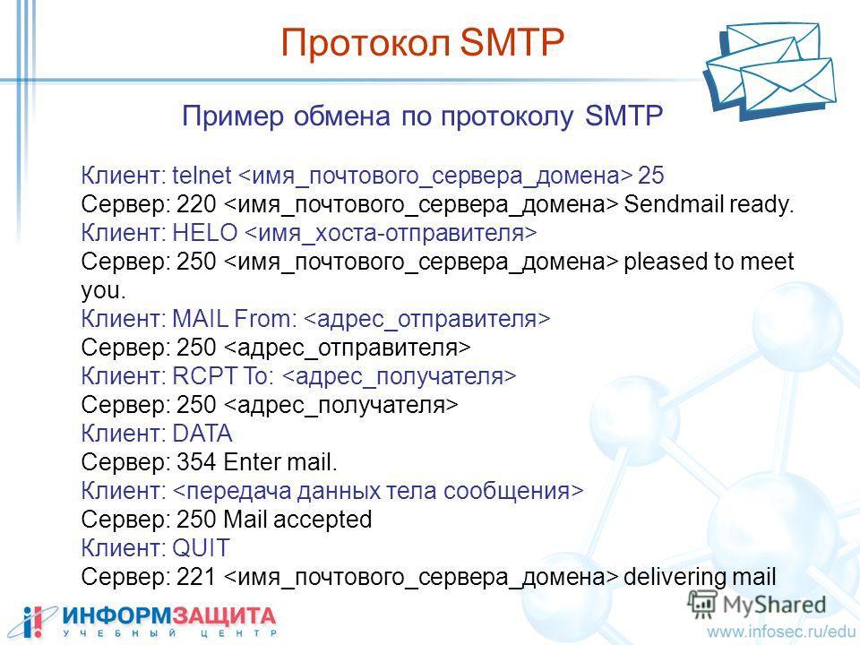 Пример обмена по протоколу SMTP Протокол SMTP Клиент: telnet 25 Сервер: 220 Sendmail ready. Клиент: HELO Сервер: 250 pleased to meet you. Клиент: MAIL From: Сервер: 250 Клиент: RCPT To: Сервер: 250 Клиент: DATA Сервер: 354 Enter mail. Клиент: Сервер: