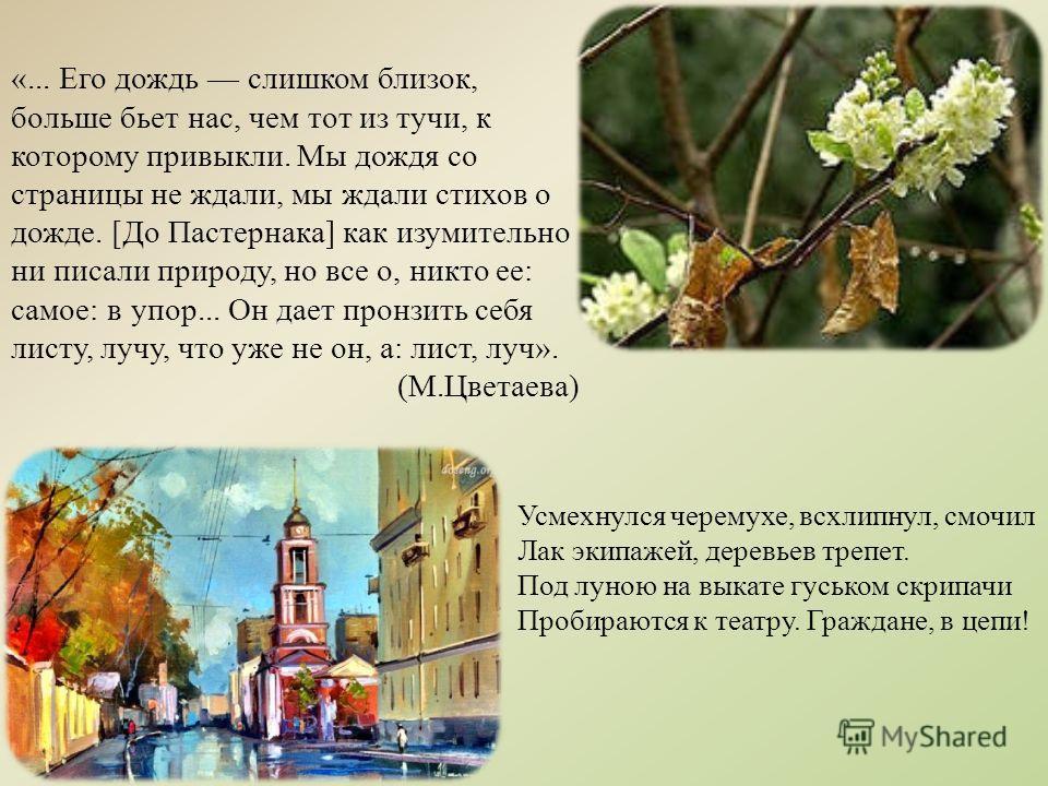 «... Его дождь слишком близок, больше бьет нас, чем тот из тучи, к которому привыкли. Мы дождя со страницы не ждали, мы ждали стихов о дожде. [До Пастернака] как изумительно ни писали природу, но все о, никто ее: самое: в упор... Он дает пронзить себ