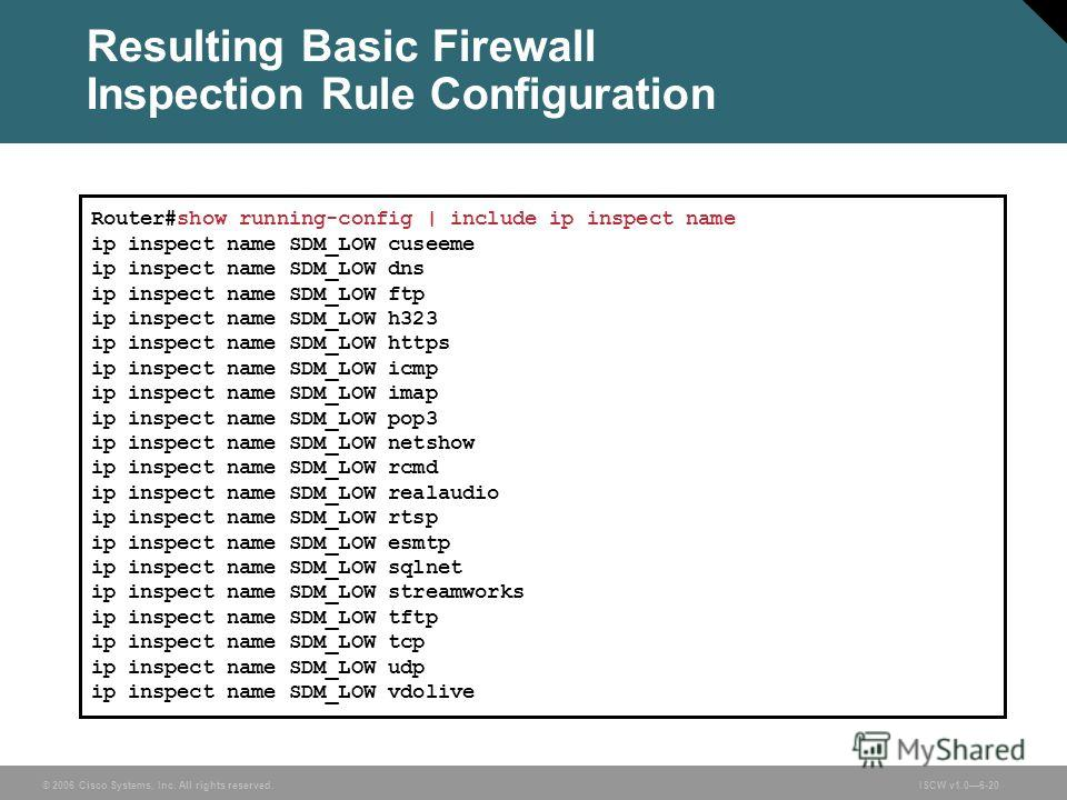 © 2006 Cisco Systems, Inc. All rights reserved.ISCW v1.06-20 Resulting Basic Firewall Inspection Rule Configuration Router#show running-config | include ip inspect name ip inspect name SDM_LOW cuseeme ip inspect name SDM_LOW dns ip inspect name SDM_L