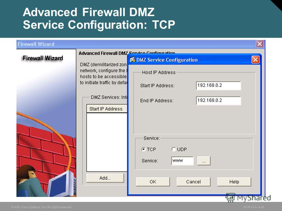 © 2006 Cisco Systems, Inc. All rights reserved.ISCW v1.06-28 Advanced Firewall DMZ Service Configuration: TCP