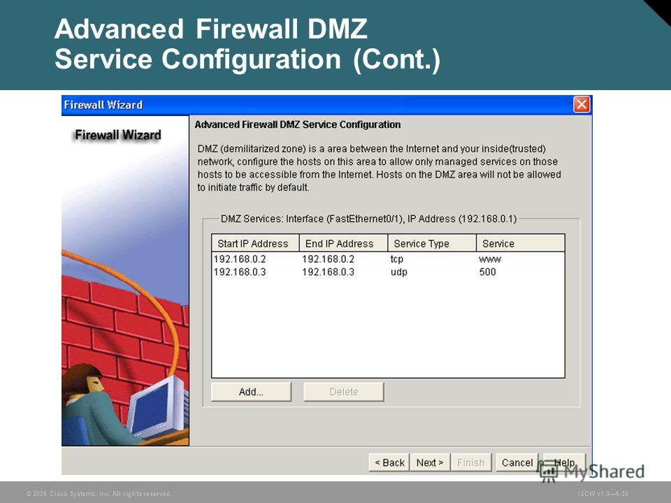 © 2006 Cisco Systems, Inc. All rights reserved.ISCW v1.06-30 Advanced Firewall DMZ Service Configuration (Cont.)