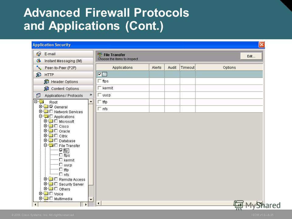 © 2006 Cisco Systems, Inc. All rights reserved.ISCW v1.06-35 Advanced Firewall Protocols and Applications (Cont.)