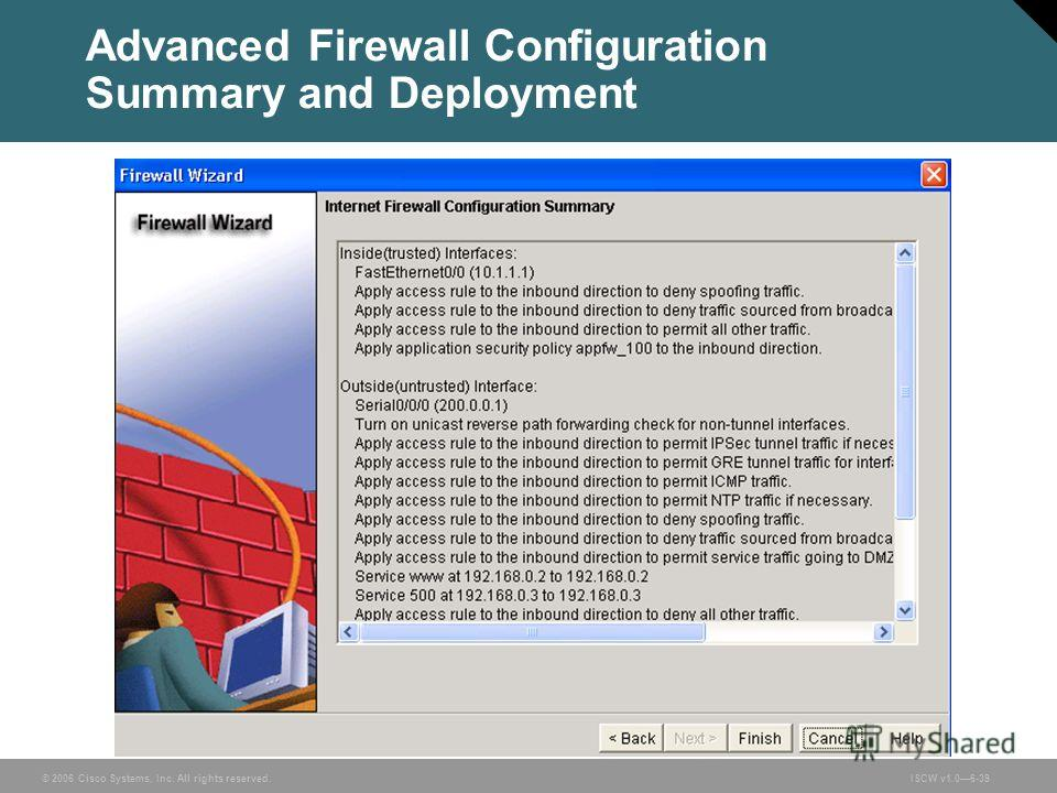 © 2006 Cisco Systems, Inc. All rights reserved.ISCW v1.06-39 Advanced Firewall Configuration Summary and Deployment