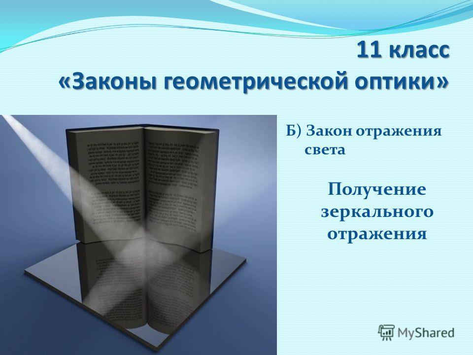 11 класс «Законы геометрической оптики» Б) Закон отражения света Получение зеркального отражения