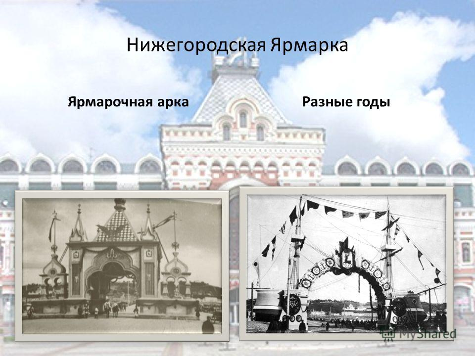 Нижегородская Ярмарка Ярмарочная арка Разные годы