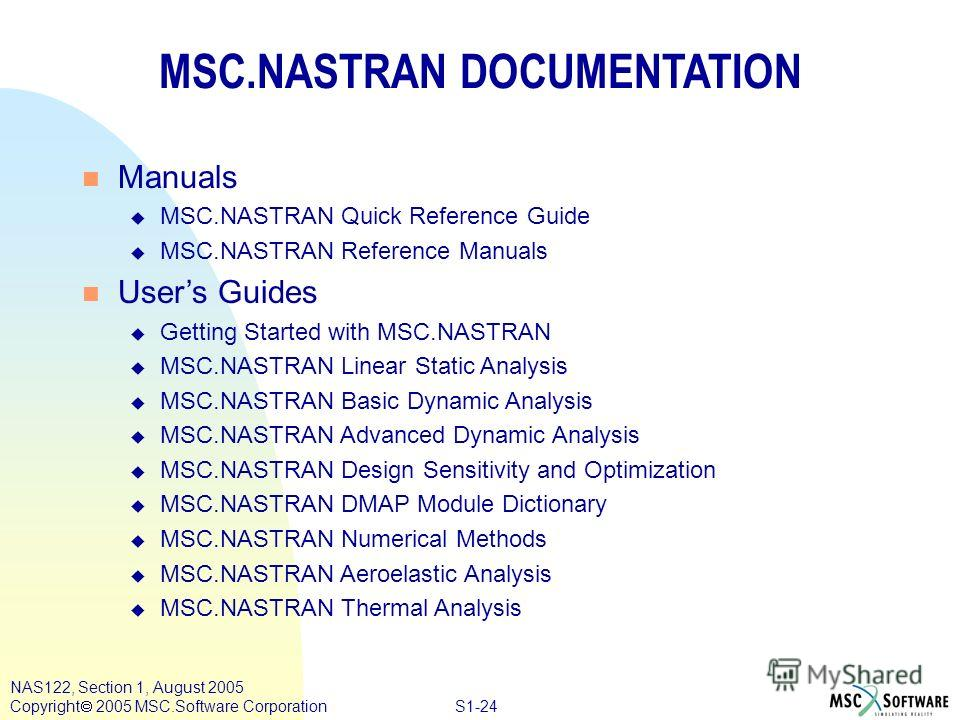 S1-24 NAS122, Section 1, August 2005 Copyright 2005 MSC.Software Corporation MSC.NASTRAN DOCUMENTATION n Manuals u MSC.NASTRAN Quick Reference Guide u MSC.NASTRAN Reference Manuals n Users Guides u Getting Started with MSC.NASTRAN u MSC.NASTRAN Linea