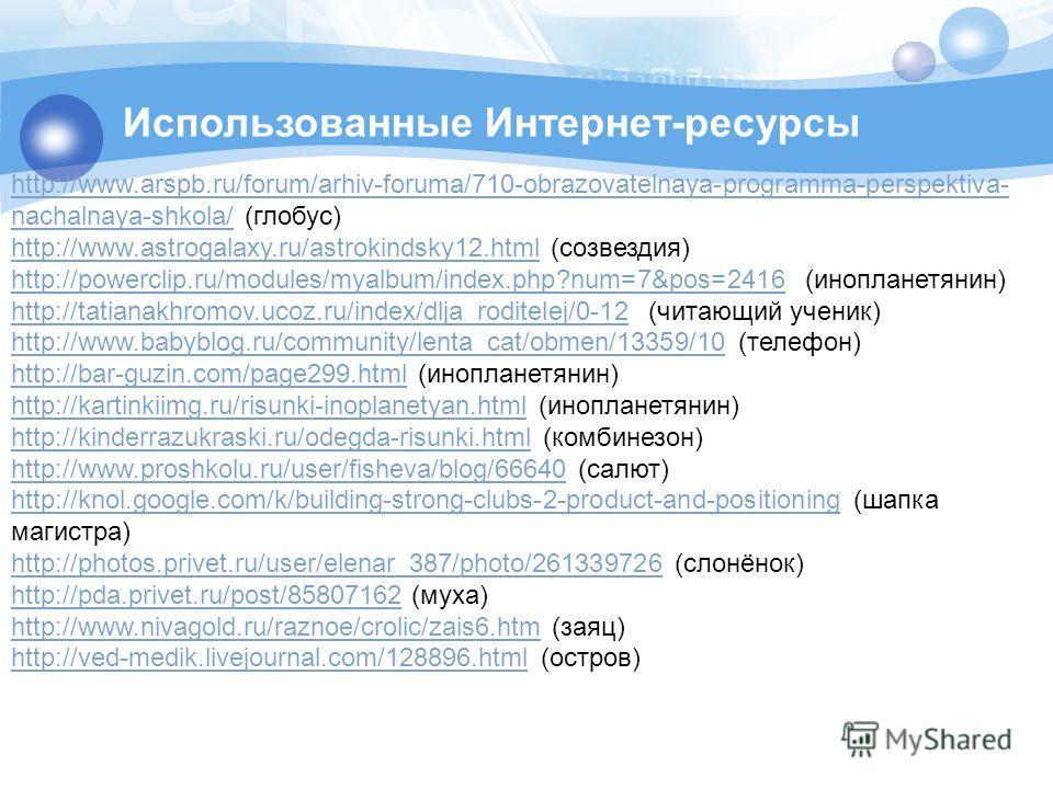 Использованные Интернет-ресурсы http://www.arspb.ru/forum/arhiv-foruma/710-obrazovatelnaya-programma-perspektiva- nachalnaya-shkola/http://www.arspb.ru/forum/arhiv-foruma/710-obrazovatelnaya-programma-perspektiva- nachalnaya-shkola/ (глобус) http://w