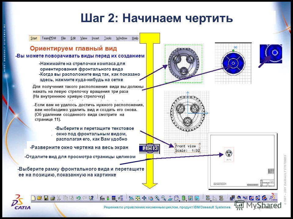 Решения по управлению жизненным циклом, продукт IBM/Dassault Systemes Страница 11 Шаг 2: Начинаем чертить Ориентируем главный вид -Вы можете поворачивать виды перед их созданием -Нажимайте на стрелочки компаса для ориентирования фронтального вида -Ко