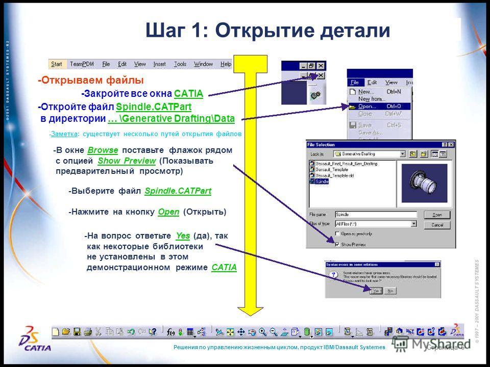 Решения по управлению жизненным циклом, продукт IBM/Dassault Systemes Страница 6 Шаг 1: Открытие детали -Открываем файлы -Закройте все окна CATIA -Откройте файл Spindle.CATPart в директории … \Generative Drafting\Data -Заметка: существует несколько п