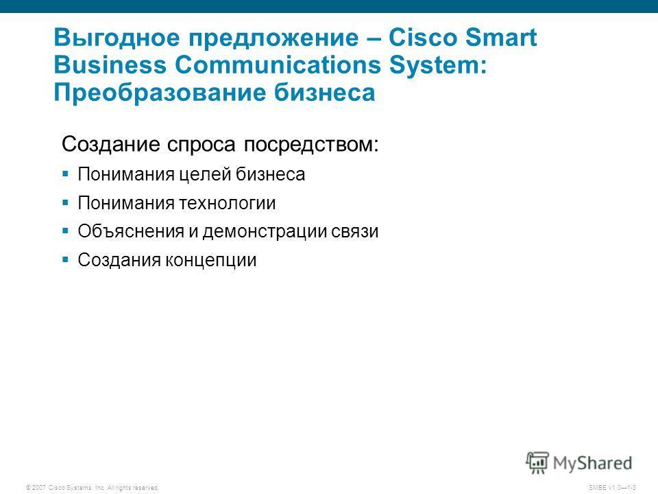 © 2007 Cisco Systems, Inc. All rights reserved.SMBE v1.01-3 Выгодное предложение – Cisco Smart Business Communications System: Преобразование бизнеса Создание спроса посредством: Понимания целей бизнеса Понимания технологии Объяснения и демонстрации