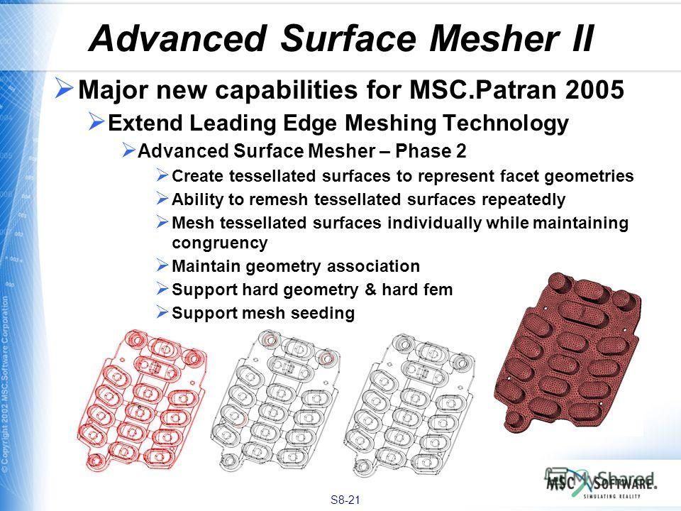 S8-21 Advanced Surface Mesher II Major new capabilities for MSC.Patran 2005 Extend Leading Edge Meshing Technology Advanced Surface Mesher – Phase 2 Create tessellated surfaces to represent facet geometries Ability to remesh tessellated surfaces repe