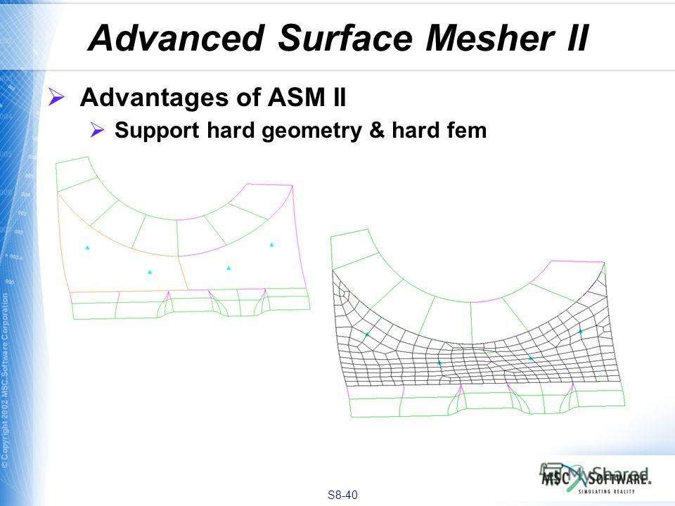 S8-40 Advanced Surface Mesher II Advantages of ASM II Support hard geometry & hard fem