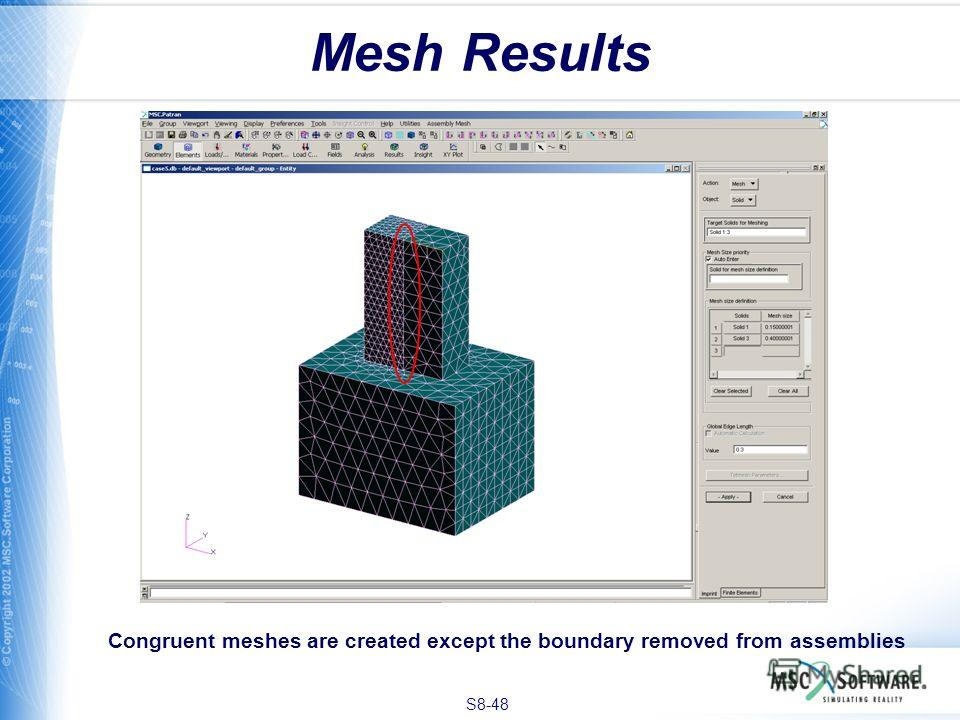 S8-48 Mesh Results Congruent meshes are created except the boundary removed from assemblies