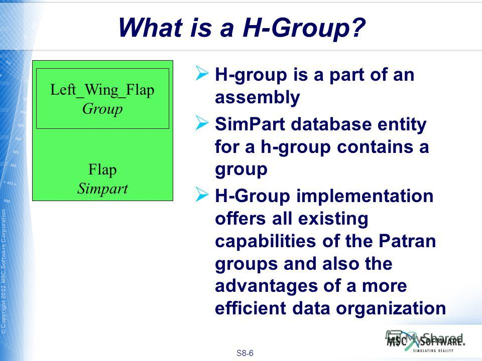 S8-6 Flap Simpart What is a H-Group? H-group is a part of an assembly SimPart database entity for a h-group contains a group H-Group implementation offers all existing capabilities of the Patran groups and also the advantages of a more efficient data