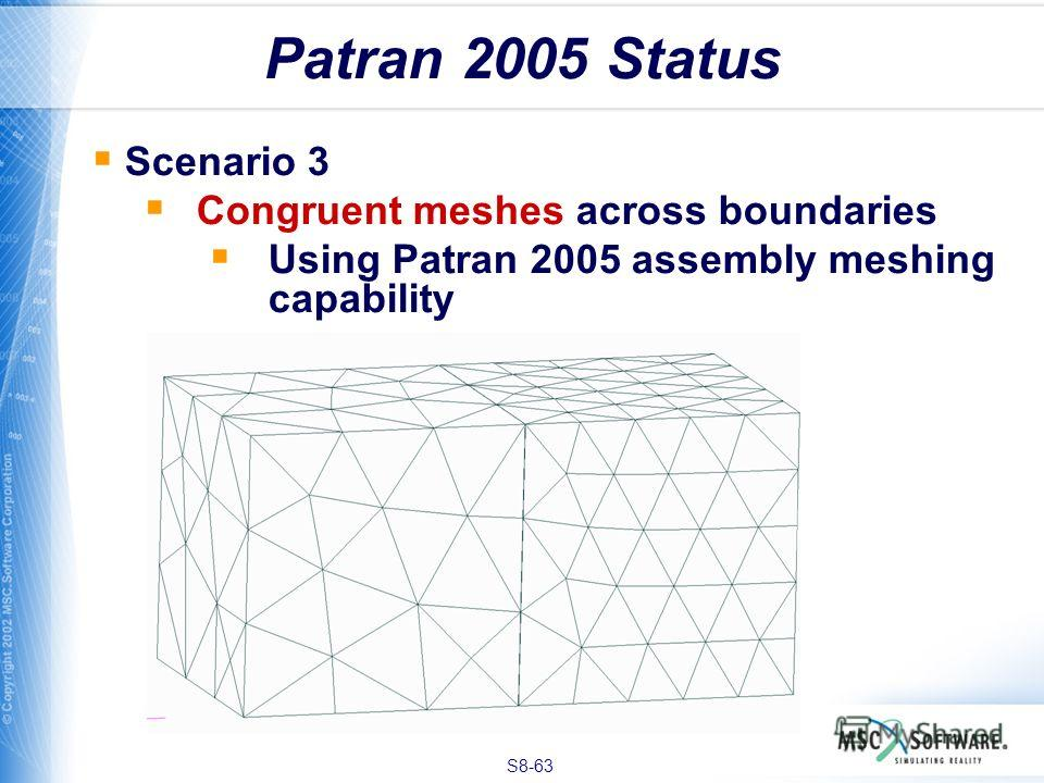 S8-63 Patran 2005 Status Scenario 3 Congruent meshes across boundaries Using Patran 2005 assembly meshing capability