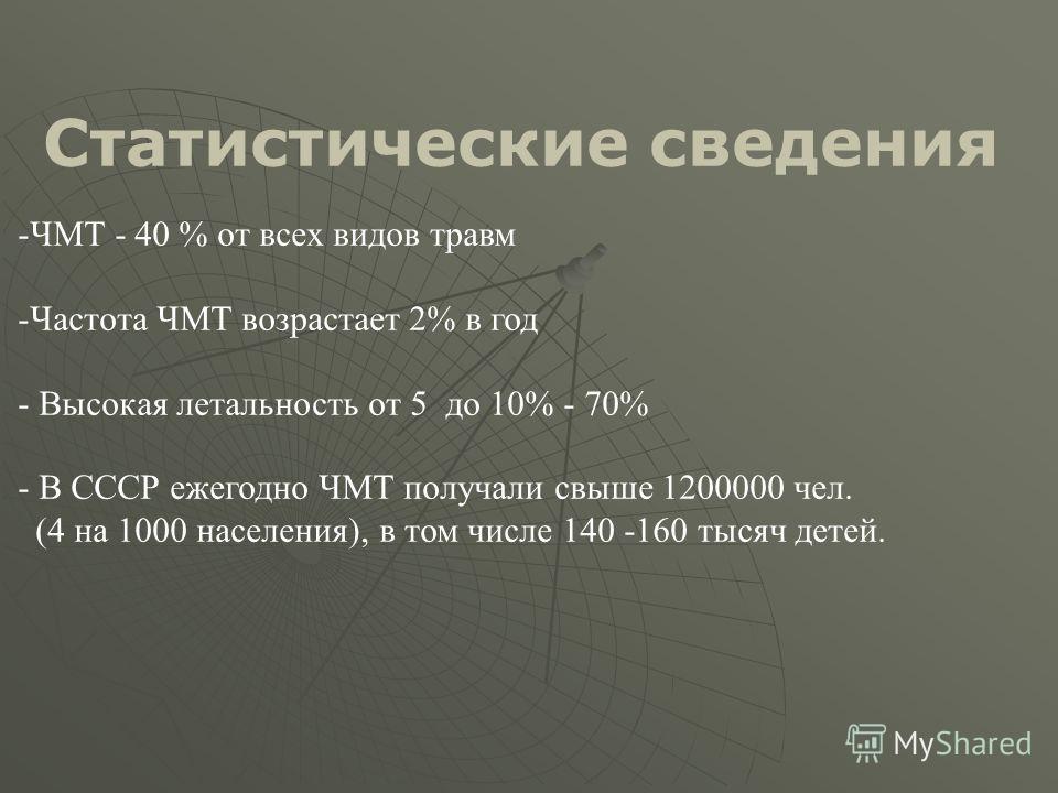 Статистические сведения - -ЧМТ - 40 % от всех видов травм - -Частота ЧМТ возрастает 2% в год - - Высокая летальность от 5 до 10% - 70% - - В СССР ежегодно ЧМТ получали свыше 1200000 чел. (4 на 1000 населения), в том числе 140 -160 тысяч детей.