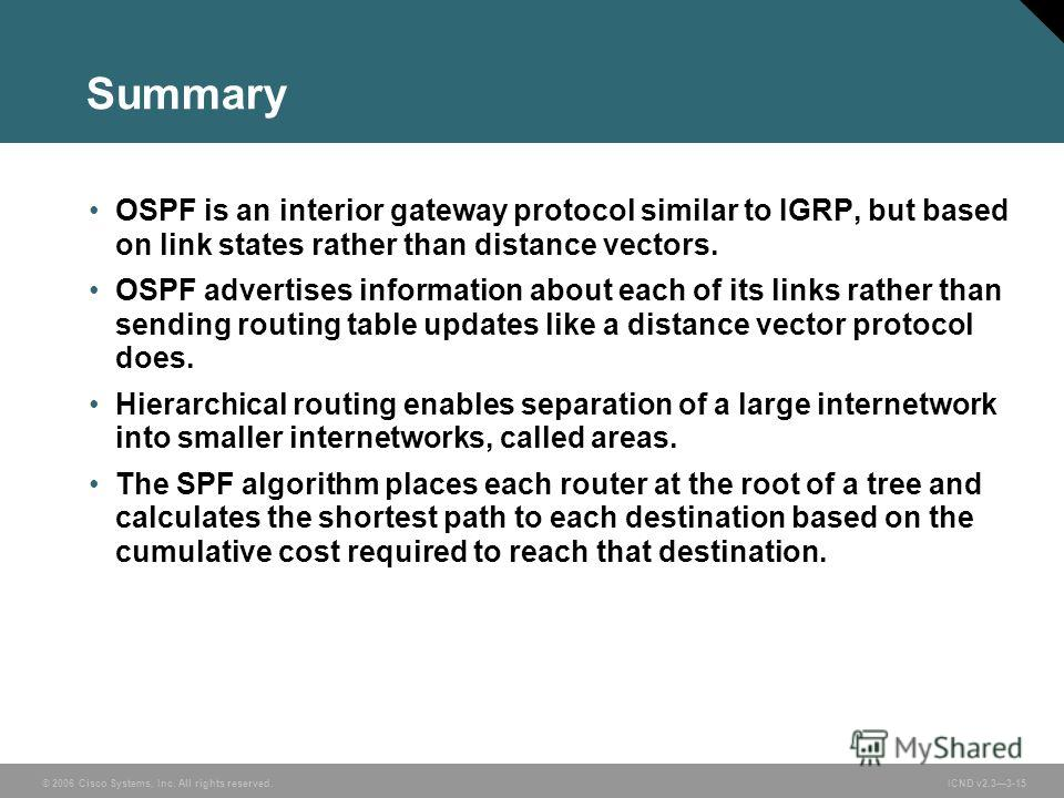 © 2006 Cisco Systems, Inc. All rights reserved. ICND v2.33-15 Summary OSPF is an interior gateway protocol similar to IGRP, but based on link states rather than distance vectors. OSPF advertises information about each of its links rather than sending