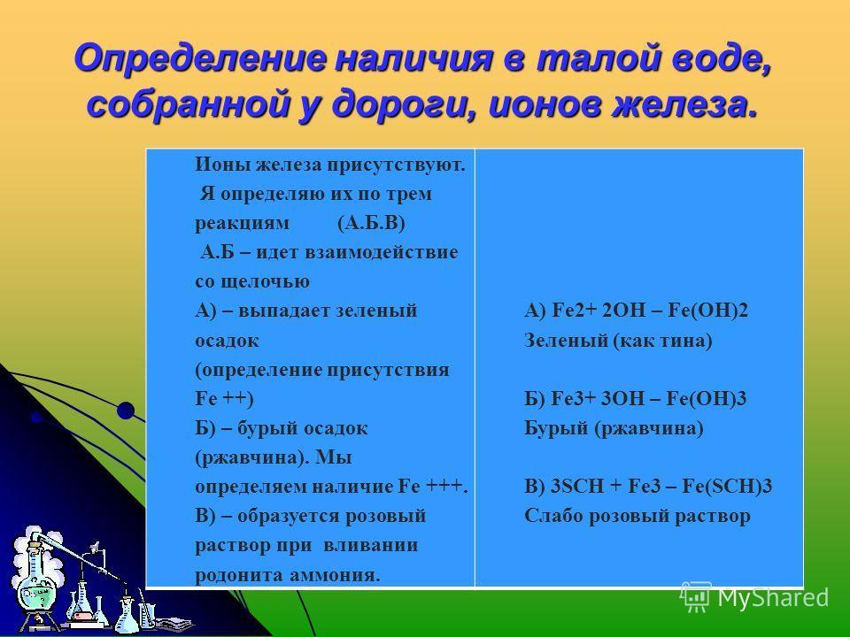 Определение наличия в талой воде, собранной у дороги, ионов железа. Ионы железа присутствуют. Я определяю их по трем реакциям (А.Б.В) А.Б – идет взаимодействие со щелочью А) – выпадает зеленый осадок (определение присутствия Fe ++) Б) – бурый осадок