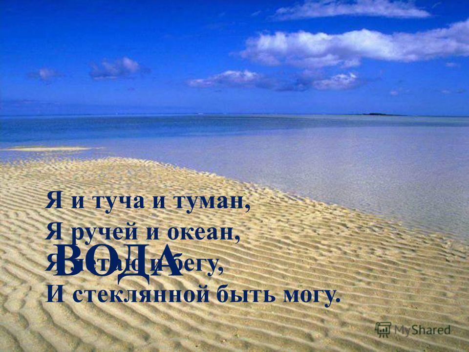 Я и туча и туман, Я ручей и океан, Я летаю и бегу, И стеклянной быть могу. ВОДА
