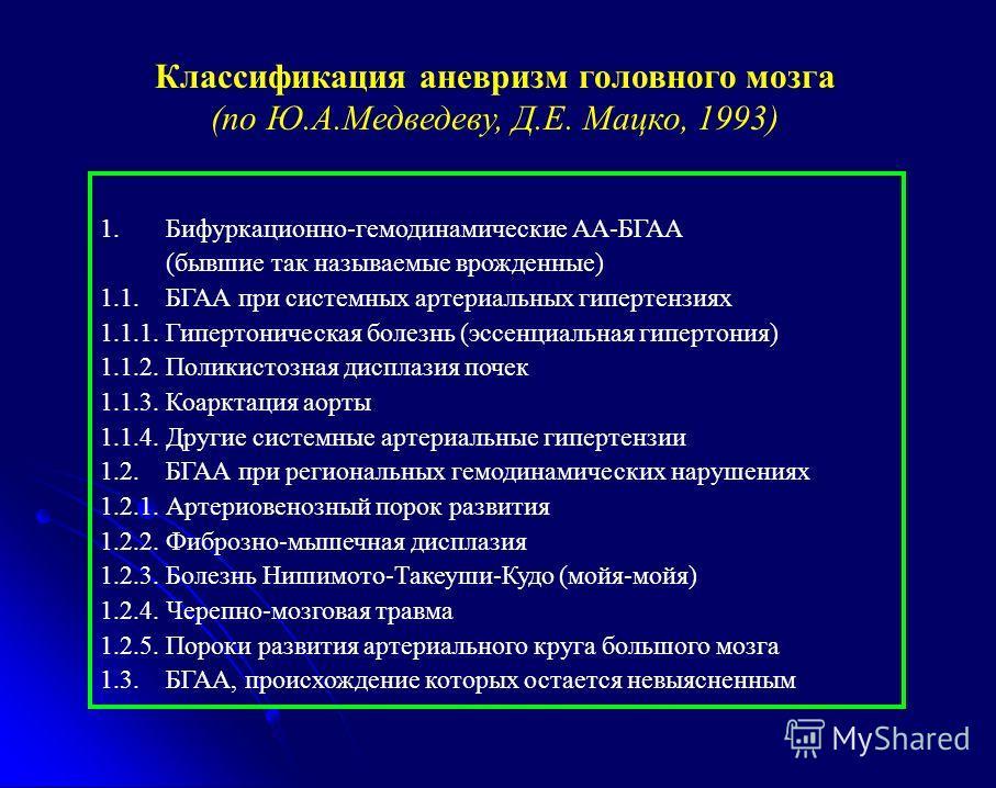 1. Бифуркационно-гемодинамические АА-БГАА (бывшие так называемые врожденные) 1.1. БГАА при системных артериальных гипертензиях 1.1.1. Гипертоническая болезнь (эссенциальная гипертония) 1.1.2. Поликистозная дисплазия почек 1.1.3. Коарктация аорты 1.1.