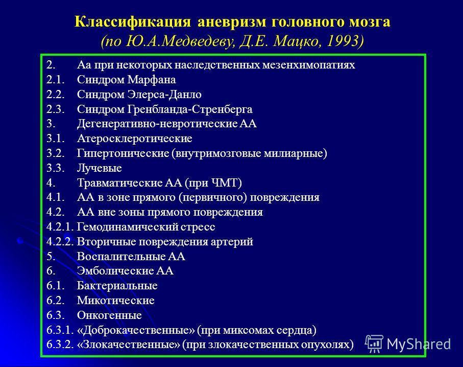 2. Аа при некоторых наследственных мезенхимопатиях 2.1. Синдром Марфана 2.2. Синдром Элерса-Данло 2.3. Синдром Гренбланда-Стренберга 3. Дегенеративно-невротические АА 3.1. Атеросклеротические 3.2. Гипертонические (внутримозговые милиарные) 3.3. Лучев