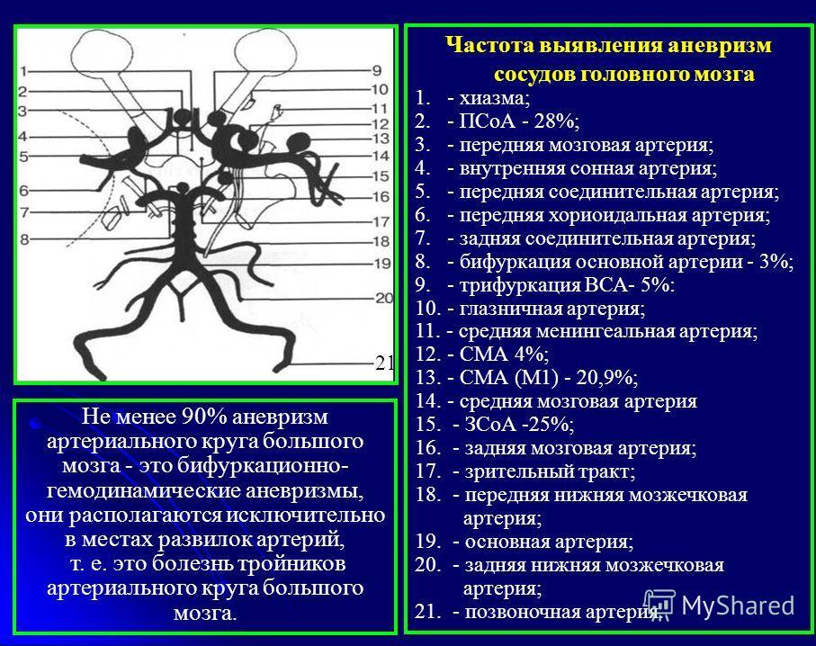 Частота выявления аневризм сосудов головного мозга 1. - хиазма; 2. - ПСоА - 28%; 3. - передняя мозговая артерия; 4. - внутренняя сонная артерия; 5. - передняя соединительная артерия; 6. - передняя хориоидальная артерия; 7. - задняя соединительная арт