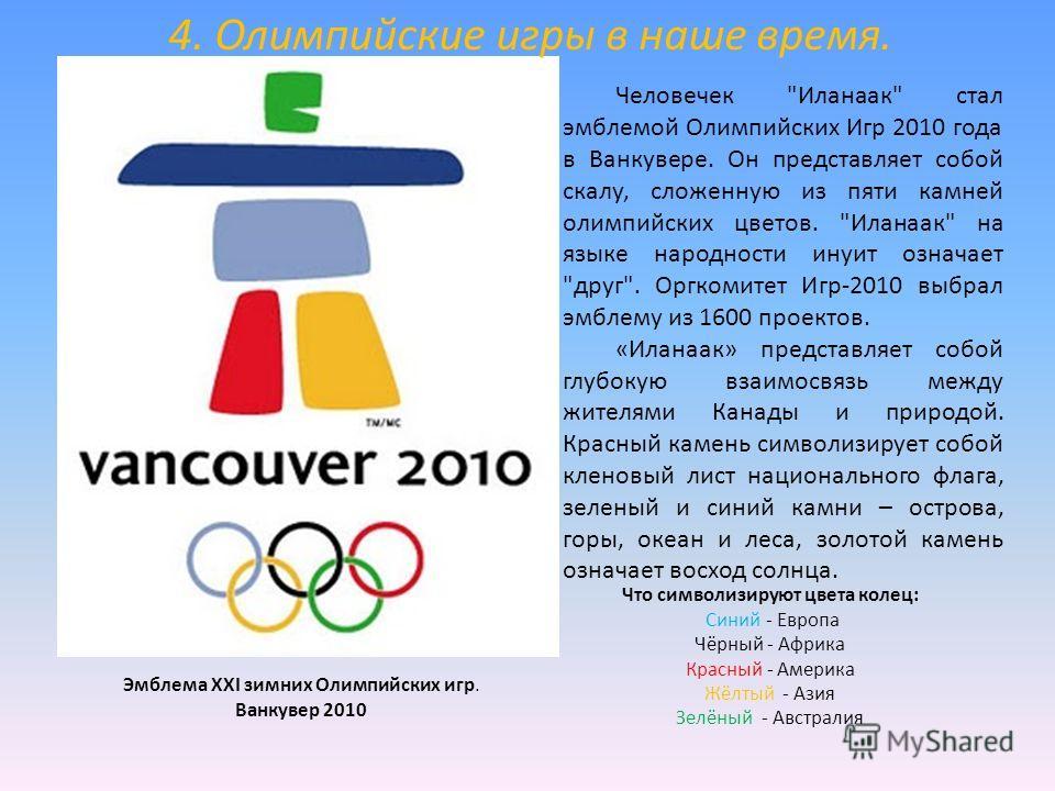 Эмблема XXI зимних Олимпийских игр. Ванкувер 2010 Что символизируют цвета колец: Синий - Европа Чёрный - Африка Красный - Америка Жёлтый - Азия Зелёный - Австралия Человечек