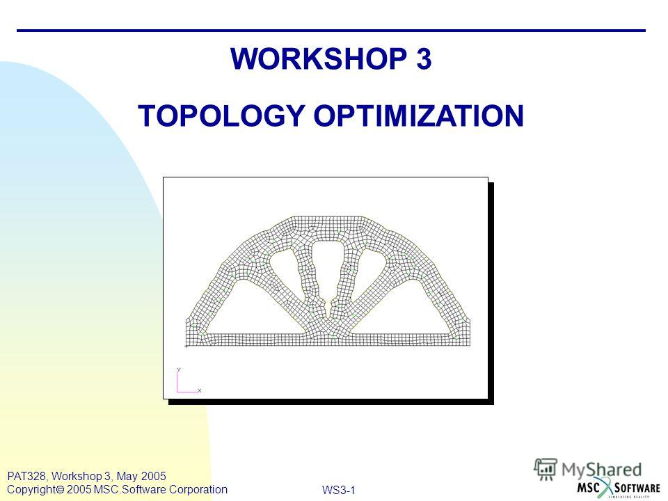 WS3-1 PAT328, Workshop 3, May 2005 Copyright 2005 MSC.Software Corporation WORKSHOP 3 TOPOLOGY OPTIMIZATION