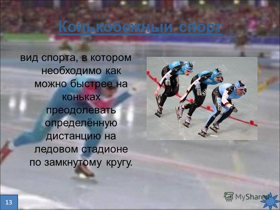 Конькобежный спорт вид спорта, в котором необходимо как можно быстрее на коньках преодолевать определённую дистанцию на ледовом стадионе по замкнутому кругу. 13