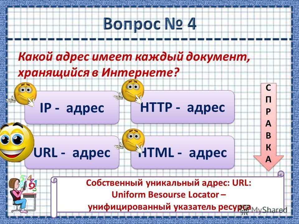 Какой адрес имеет каждый документ, хранящийся в Интернете? IP - адрес URL - адрес HTTP - адрес HTML - адрес СПРАВКАСПРАВКА СПРАВКАСПРАВКА Cобственный уникальный адрес: URL: Uniform Besourse Locator – унифицированный указатель ресурса