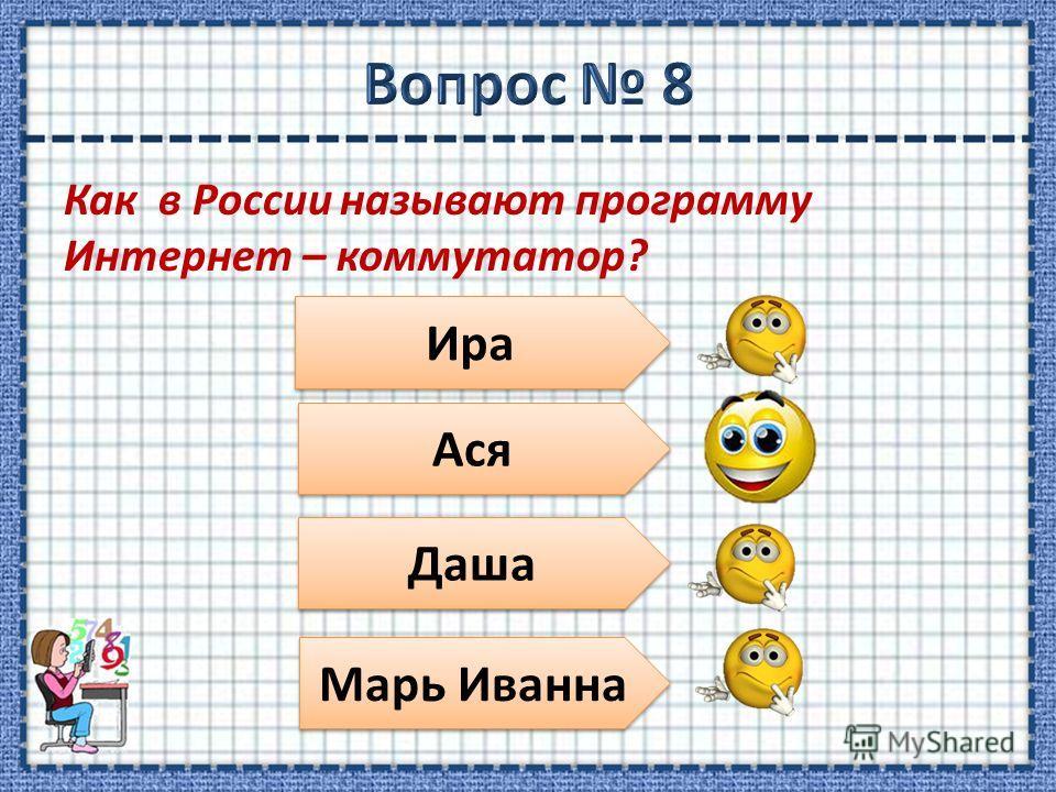 Как в России называют программу Интернет – коммутатор? Ира Ася Даша Марь Иванна