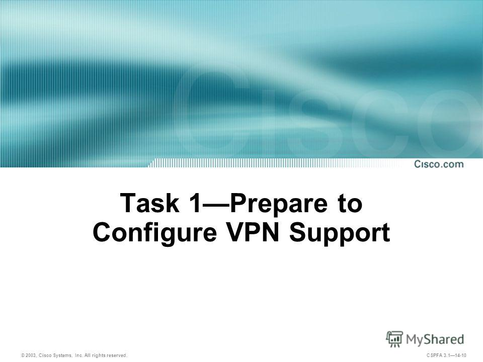 © 2003, Cisco Systems, Inc. All rights reserved. CSPFA 3.114-10 Task 1Prepare to Configure VPN Support