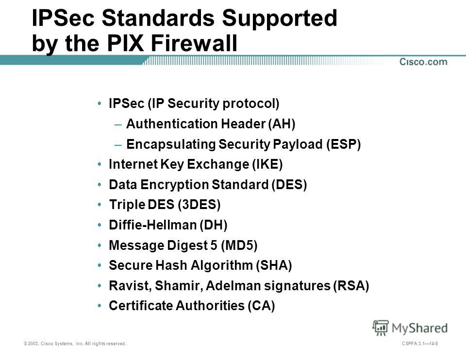 © 2003, Cisco Systems, Inc. All rights reserved. CSPFA 3.114-8 IPSec Standards Supported by the PIX Firewall IPSec (IP Security protocol) –Authentication Header (AH) –Encapsulating Security Payload (ESP) Internet Key Exchange (IKE) Data Encryption St