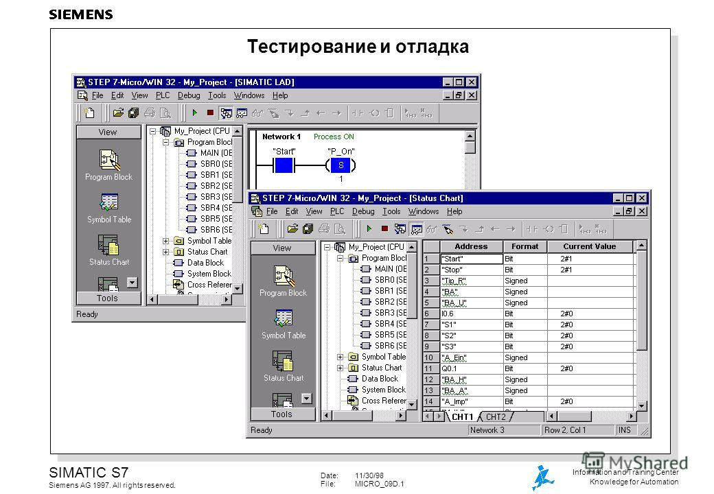 Date:11/30/98 File:MICRO_09D.1 SIMATIC S7 Siemens AG 1997. All rights reserved. Information and Training Center Knowledge for Automation Тестирование и отладка