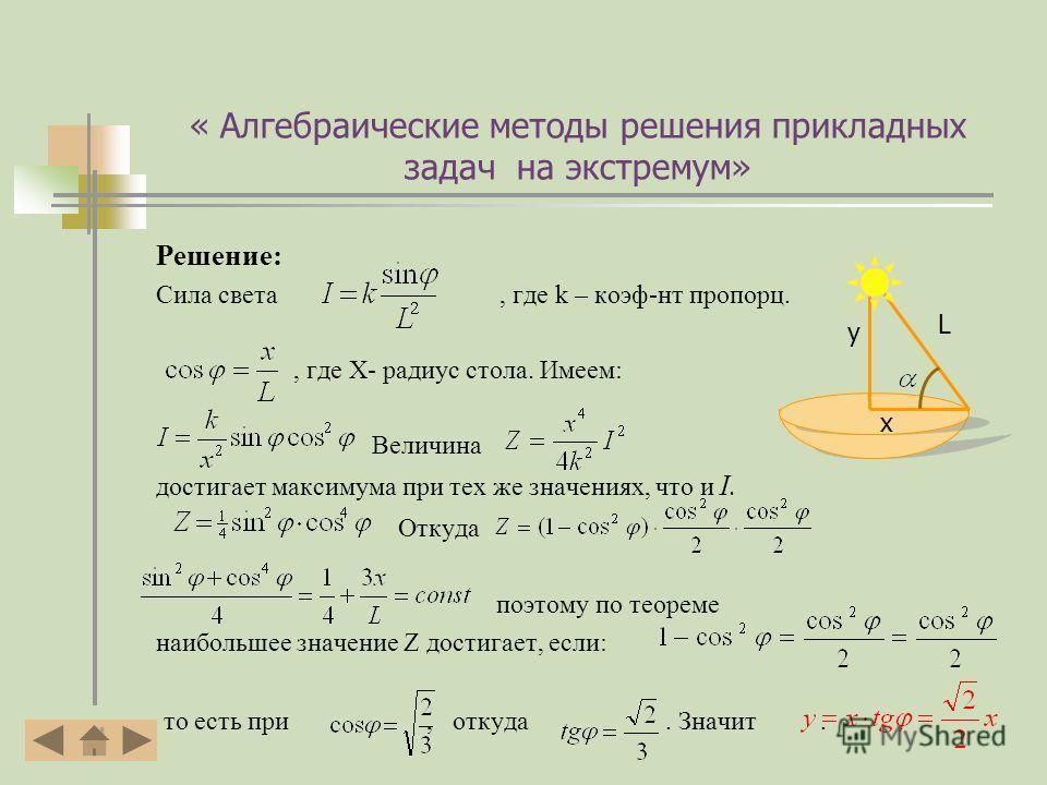 « Алгебраические методы решения прикладных задач на экстремум» Решение: Сила света, где k – коэф-нт пропорции., где X- радиус стола. Имеем: Величина достигает максимума при тех же значениях, что и I. Откуда поэтому по теореме наибольшее значение Z до