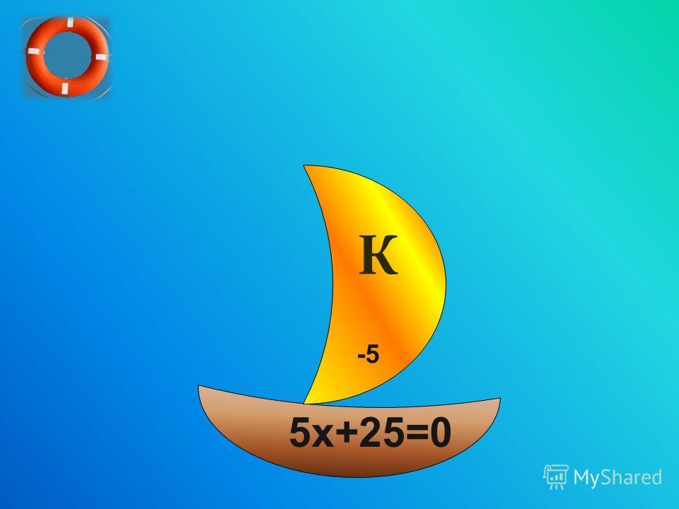 П А Т С О Й О К И 5 х+25=0 -5 К